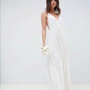 ASOS White Sequin Wedding Dress